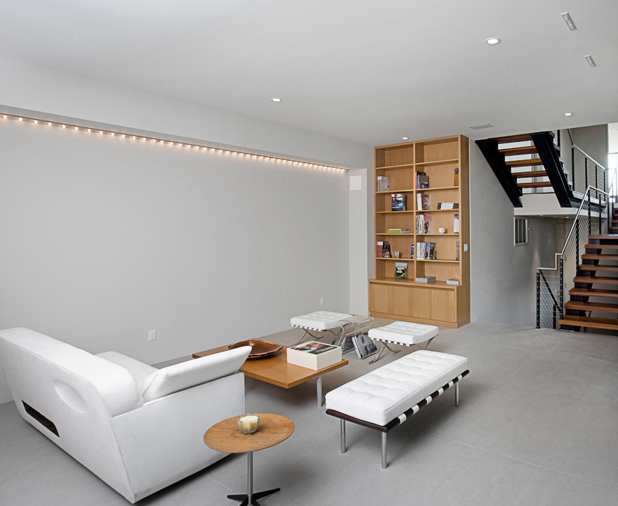 Photograph of white and wood living room