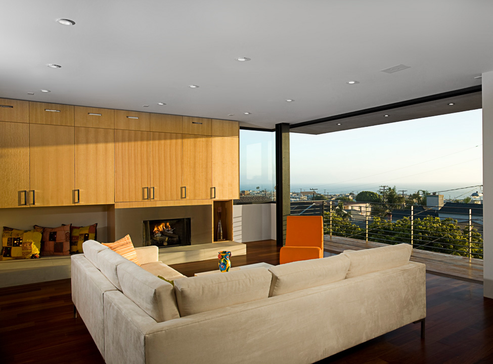Photograph of sun-drenched modern living room